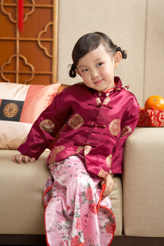 Maroon Red Brocade Cheongsam for Girls