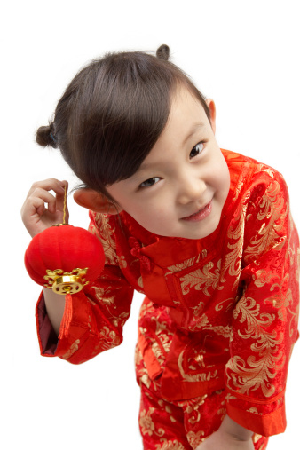 Red Brocade Girls Cheongsam