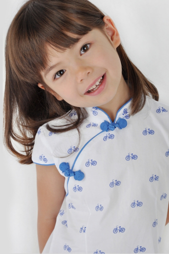 White and Blue Girls Cheongsam