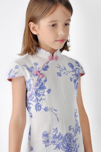 Blue Cheongsam For Girls