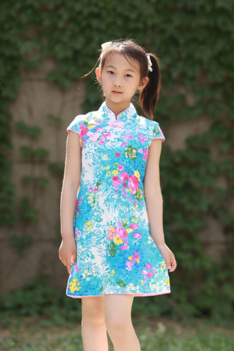 Turquoise Floral Girls Cheongsam
