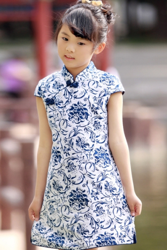 Blue & White Girls Cheongsam Dress