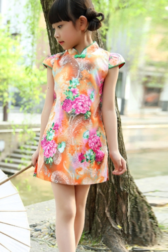 Orange Floral Cheongsam Dress for Girls