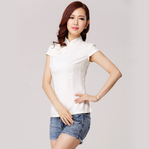 Linen Chinese Blouse (White)